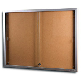 HD2 Sliding Glass Two Door Notice Board Arrow Alpha 1