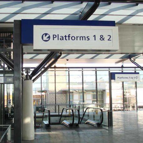 Escalator-Directional-Scrolling-Sign-Chatswood-Epping-Macquarie-Park-Uni-arrow-alpha-1