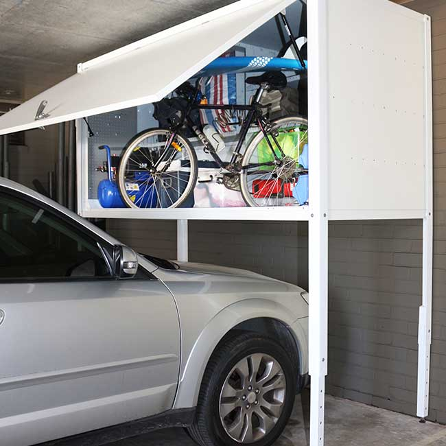 Over car storage and garage lockers arrow alpha for Apartment garage storage
